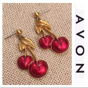 Avon Red Enamel Cherry Drop Earrings Goldtone